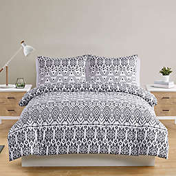 VCNY Home Mesa 2-Piece Twin XL Duvet Cover Set in Black/White
