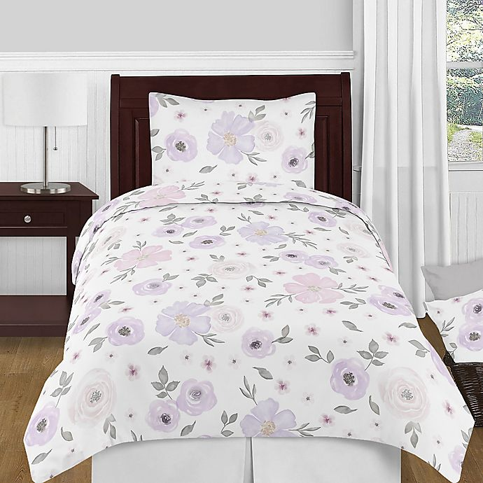 Alternate image 1 for Sweet Jojo Designs® Watercolor Floral Twin Comforter Set in Pink /Grey