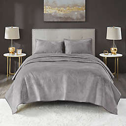 Lennox Velvet 3-Piece Full/Queen Quilt Set in Grey
