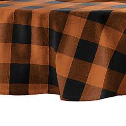 Elrene Home Fashions Farmhouse Fall Buffalo Check Round Tablecloth in Orange/Black