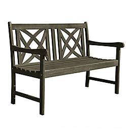 Vifah Renaissance Patio Bench in Grey