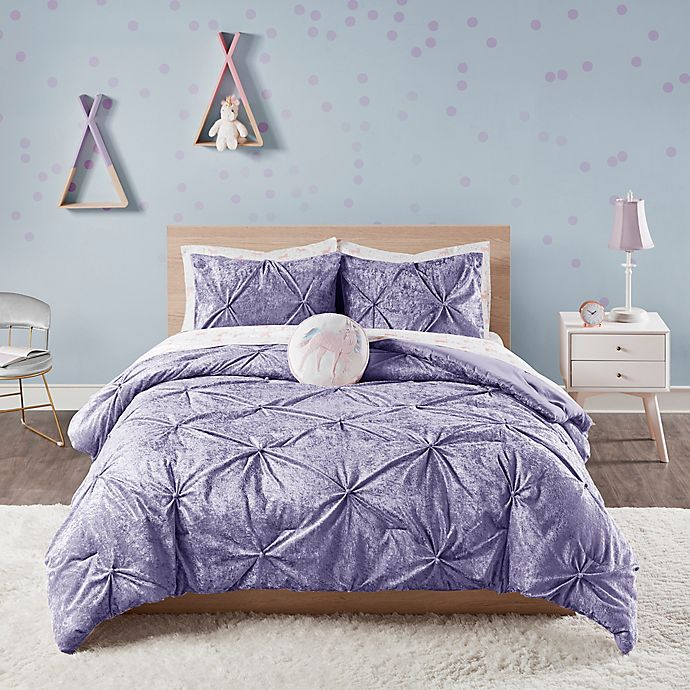 Alternate image 1 for Ivy Crushed Velvet 2-Piece Twin/Twin XL Comforter Set in Purple