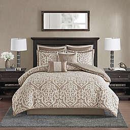Madison Park Odette Jacquard 8-Piece Reversible California King Comforter Set in Tan