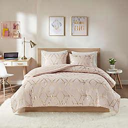 Intelligent Design Ainsley Metallic Print Reversible 3-Piece Comforter Set