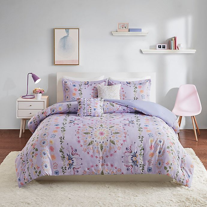 Alternate image 1 for Intelligent Design Navi 4-Piece Reversible Twin/Twin X-Long Comforter Set in Purple