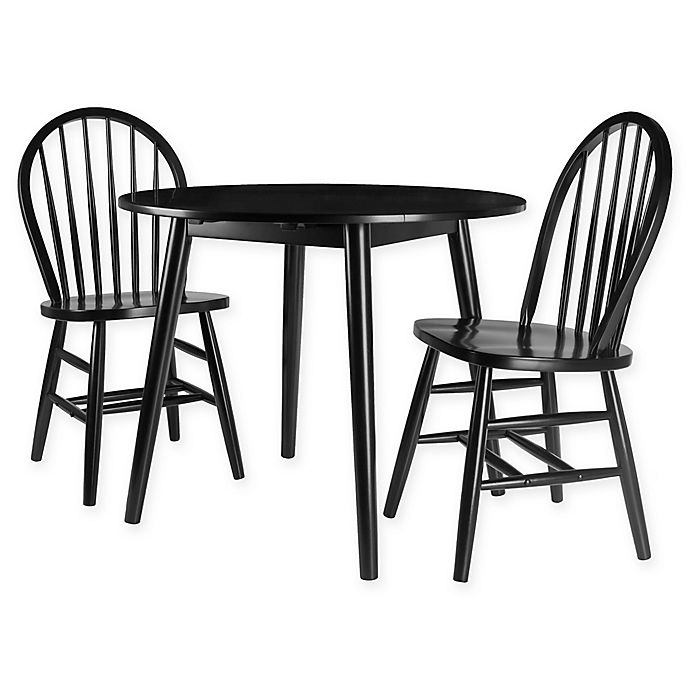 Winsome Moreno 3 Piece Round Drop Leaf Dining Table Set With Windsor Chairs In Black Bed Bath Beyond