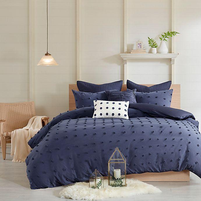 Alternate image 1 for Urban Habitat Brooklyn Cotton Jacquard 5-Piece Twin/Twin XL Duvet Cover Set in Indigo Blue