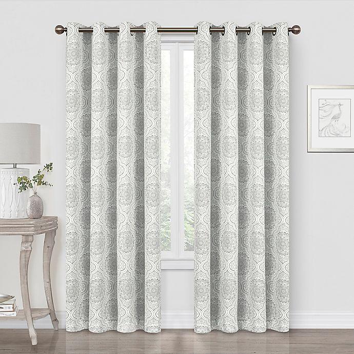 Alternate image 1 for Quinn Medallion 84-Inch Blackout Grommet Window Curtain Panel in Grey