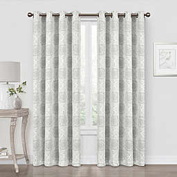 Quinn Medallion 84-Inch Blackout Grommet Window Curtain Panel in Grey