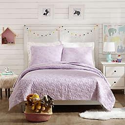 Jessica Simpson Flower Heart 2-Piece Twin Quilt Set in Purple