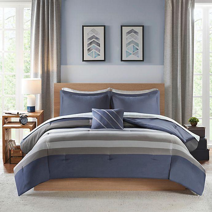 Alternate image 1 for Intelligent Design Marsden Twin Comforter Set in Blue/Grey
