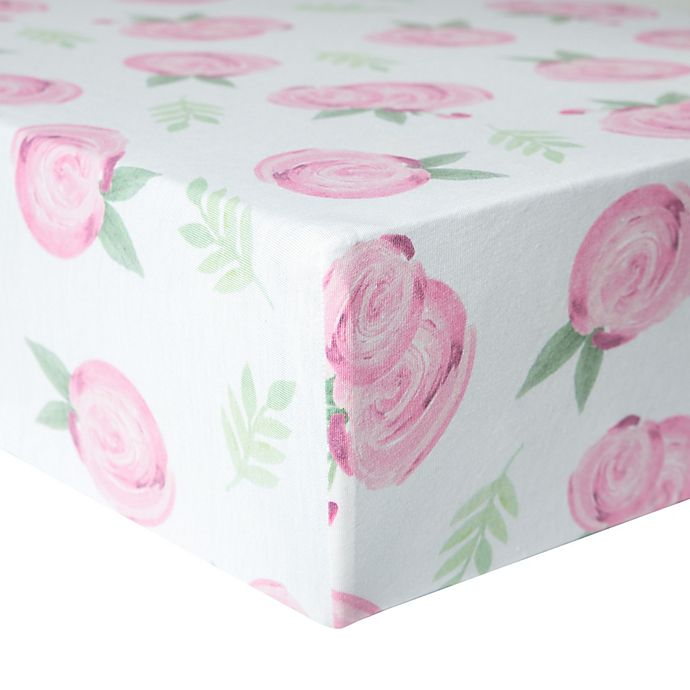 Alternate image 1 for Copper Pearl™ Grace Premium Fitted Crib Sheet in Pink Flower