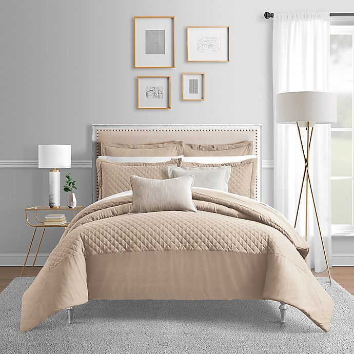 Alternate image 1 for Bridge Street Camille 3-Piece King Comforter Set in Oatmeal