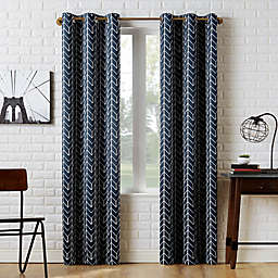 Sun Zero® Kenwood Chevron 95-Inch Room Darkening Window Curtain Panel in Navy