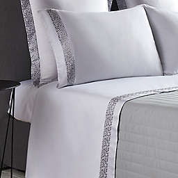 Frette At Home Puntini 280-Thread-Count King Pillowcase in White/Grey