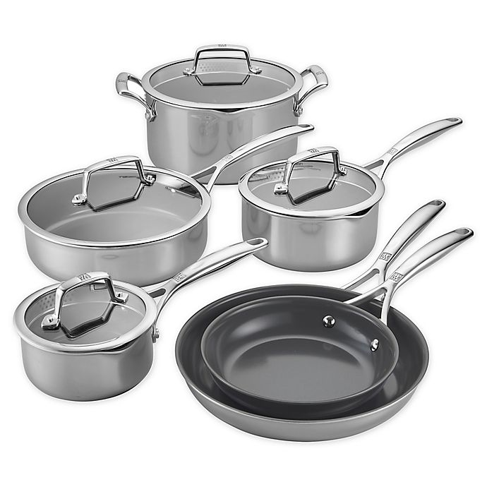 Alternate image 1 for Zwilling® J.A. Henckels Energy Plus Nonstick Stainless Steel 10-Piece Cookware Set