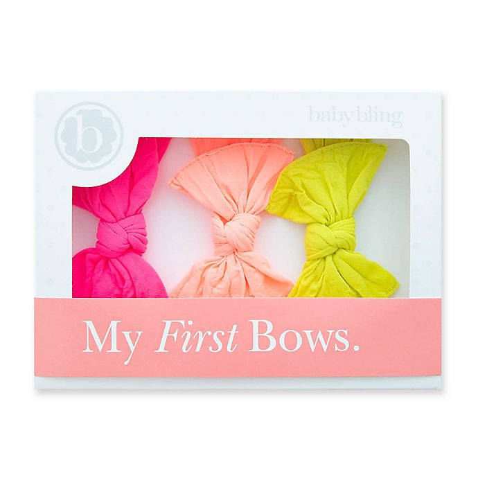 Alternate image 1 for Baby Bling My First Bows 3-Pack Knot Headbands in Neon