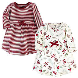 Touched by Nature® Size 9-12M 2-Pack Holly Long Sleeve Organic Cotton Dresses