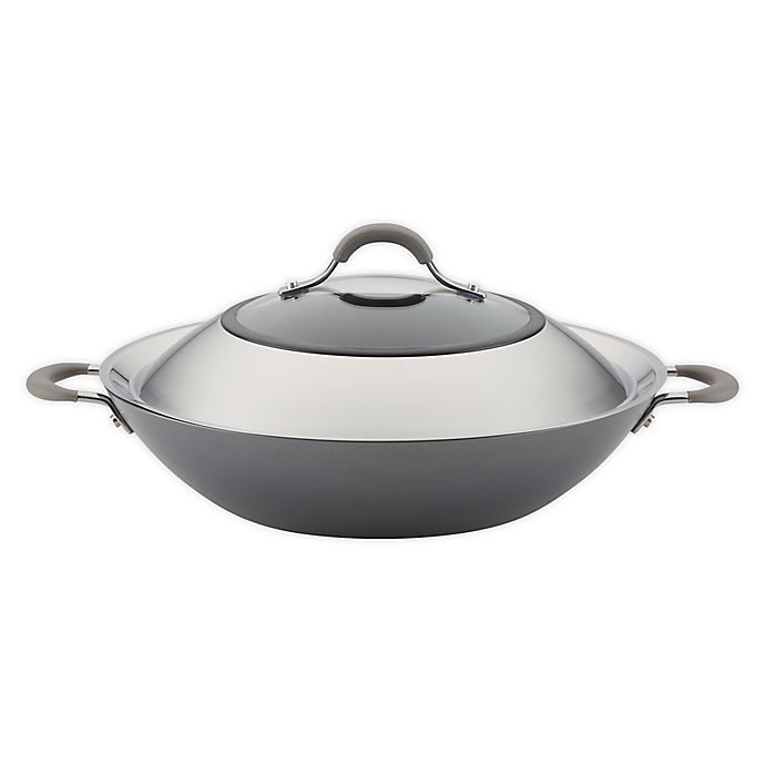 Alternate image 1 for Circulon® Elementum™ Nonstick 14-Inch Hard-Anodized Covered Wok in Oyster Grey