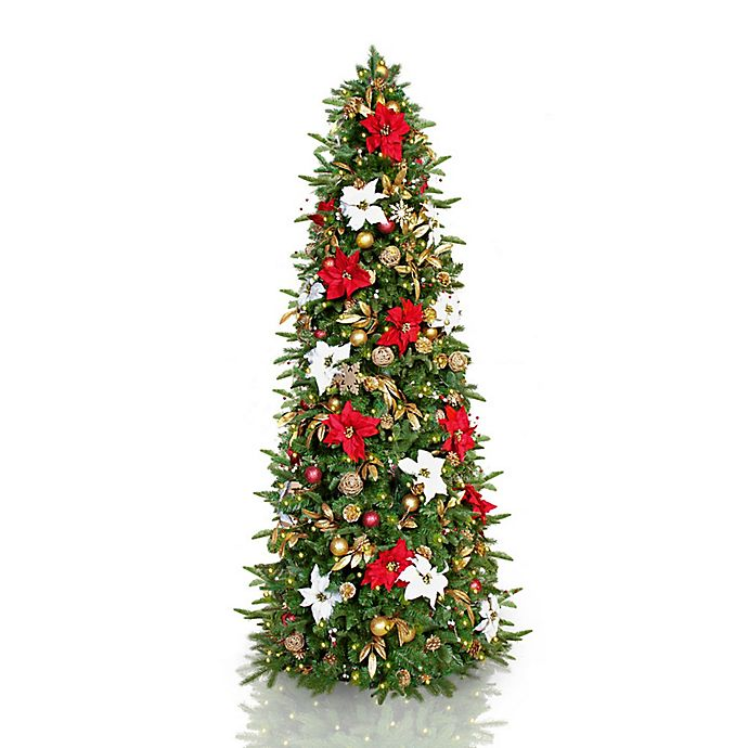 Easy Treezy 7 5 Foot Christmas Tree W Red White And Gold Decorations Plus White Led Lights Bed Bath Beyond