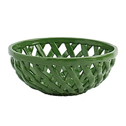 Modern Farmhouse Home Floral Bread Basket in Green
