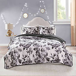 Intelligent Design Dorsey Reversible Printed 2 Piece Coverlet Set in Black/white