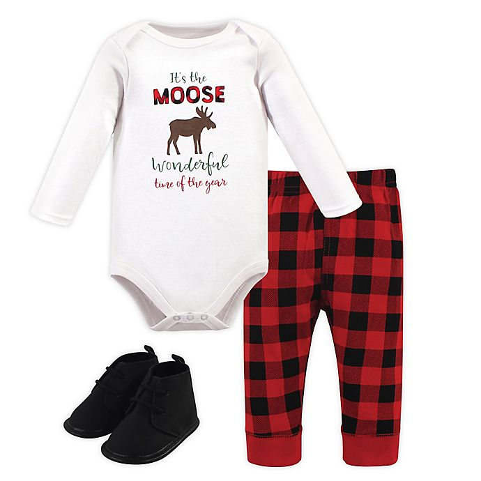 Alternate image 1 for Hudson Baby® 3-Piece Bodysuit, Pant and Shoe Set