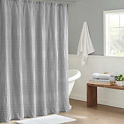 Madison Park Arlo Super Waffle Textured Solid Shower Curtain in Grey