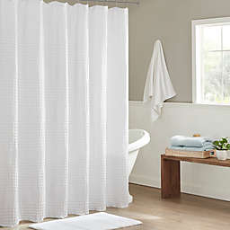 Madison Park Arlo Super Waffle Textured Solid Shower Curtain in White
