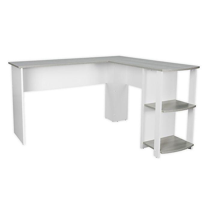 Alternate image 1 for Techni Mobili Modern L-Shaped Desk with Shelves in Grey/White