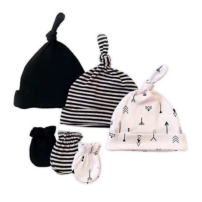 Alternate image 1 for Sterling Baby 6-Piece Arrows Hat and Mitten Set