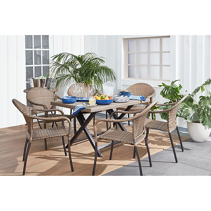 Alternate image 1 for Barrington Wicker 6-Person Folding Patio Table in Natural Brown