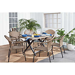 Barrington Wicker 6-Person Folding Patio Table in Natural Brown