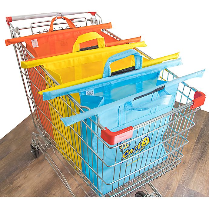 Alternate image 1 for Cart Daddy 3-Piece Reusable Multicolor Shopping Cart Grocery Bags Set