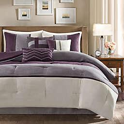 Madison Park Palisades 7-Piece Reversible King Comforter Set in Purple