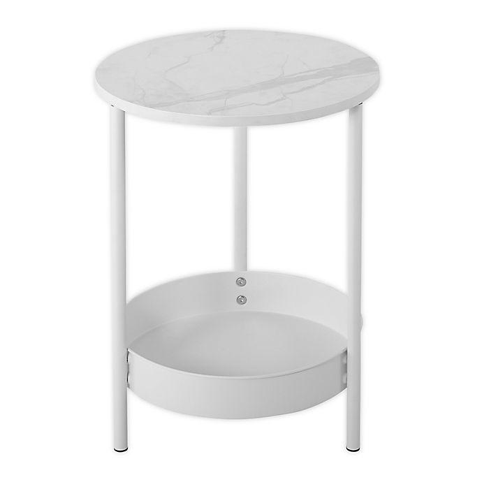 Alternate image 1 for SALT® Metal Side Table in White/Marble