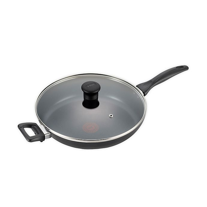 Alternate image 1 for T-fal® Pure Cook Nonstick 13-Inch Aluminum Covered Fry Pan with Helper Handle in Black
