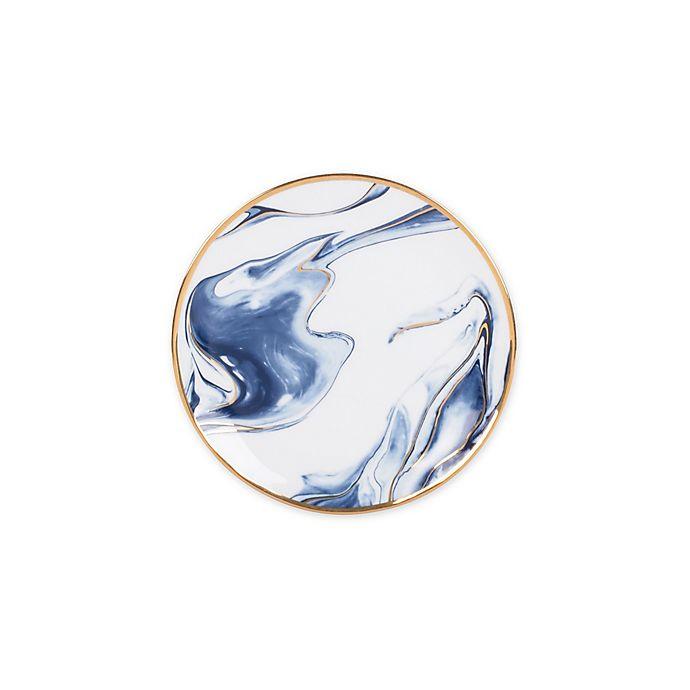 Alternate image 1 for Olivia & Oliver™ Harper Marble Gold Appetizer Plate in Blue