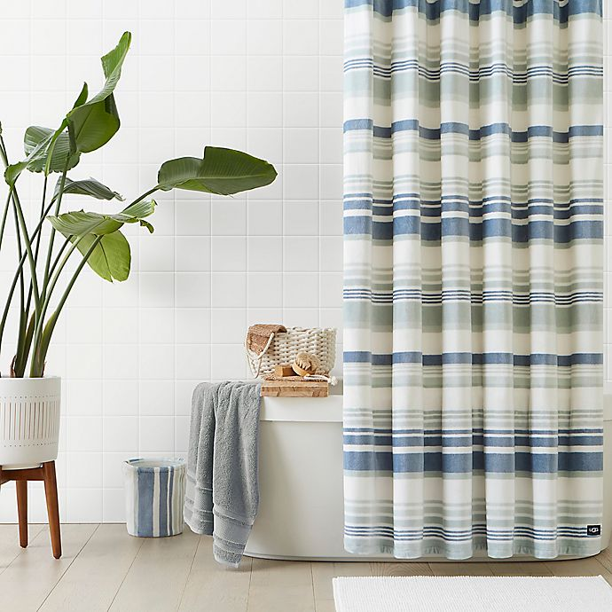 Alternate image 1 for UGG® Avery Plush 72-Inch x 72-Inch Shower Curtain in Blue Crush