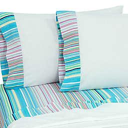 Coastal Life Tropical Rainbow Stripe 144-Thread-Count Pillowcases (Set of 2)