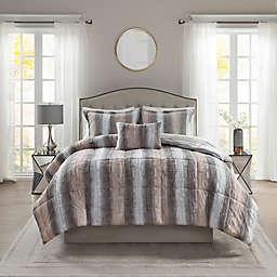 Madison Park® Zuri Faux Fur 4-Piece Full/Queen Comforter Set in Blush/Grey