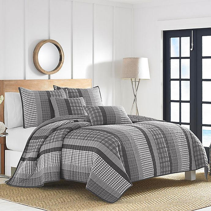 Alternate image 1 for Nautica® Gulf Shores Quilt Set in Charcoal