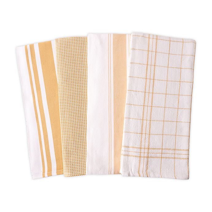 Alternate image 1 for Artisanal Kitchen Supply® Flat Kitchen Towels in Yellow (Set of 4)