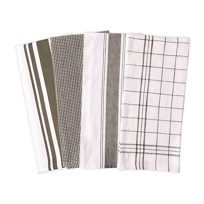 Alternate image 1 for Artisanal Kitchen Supply® Flat Kitchen Towels in Green (Set of 4)