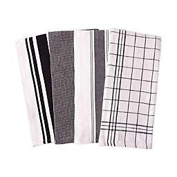 Artisanal Kitchen Supply® Flat Kitchen Towels in Black (Set of 4)