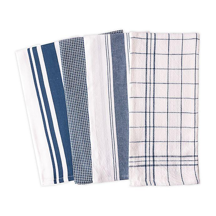 Alternate image 1 for Artisanal Kitchen Supply® Flat Kitchen Towels in Navy (Set of 4)