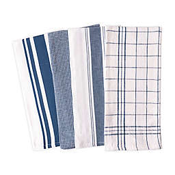 Artisanal Kitchen Supply® Flat Kitchen Towels in Navy (Set of 4)