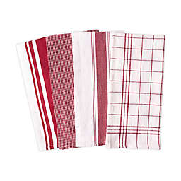 Artisanal Kitchen Supply® Flat Kitchen Towels in Red (Set of 4)