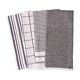 Artisanal Kitchen Supply® Reversible Terry Kitchen Towels in Black (Set of 4)