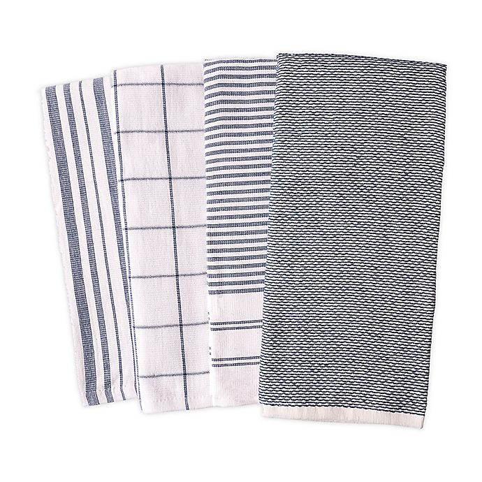 Alternate image 1 for Artisanal Kitchen Supply® Reversible Terry Kitchen Towels in Navy (Set of 4)